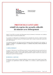 Protocole sanitaire ACM avec hébergement